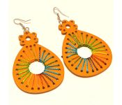 Sanaa Creations Orange Color Crafted Laser Cutting Wooden With Thread Earring-(product Code-1ern118)