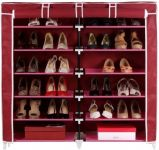 Homebasics Fancy 6 Layer Double Maroon Shoe Rack Organizer Polyester Standard Shoe Rack (6 Shelves)