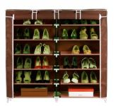 Unique Cartz Fancy 6 Layer Double Dark Brown Shoe Rack Organizer Polyester Standard Shoe Rack (12 Shelves)