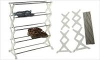 Home Basics 5 Tier Foldable Stainless Steel Shoe Rack 16 Pair