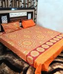 Peponi Orange & Yellow Cotton Double Bedsheet With 2 Pillow Covers