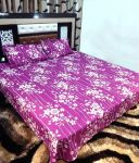 Peponi Purple & White Cotton Double Bedsheet With 2 Pillow Covers