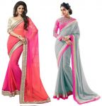 Bhuwal Designer Multicoloured Georgette Saree Combos(combo83)