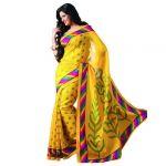 Lavri Partywear Bhagalpuri Silk Bhagalpuri Printed Saree With Un-stitched Blouse