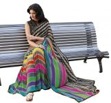 "G.r Fashions Women""s Multi Color Georgette Saree-(code-gr-s2011)"