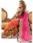 Styloce Pink Color Net Embroidered Party Deasigner Saree With Blouse-(code-sty-8831)