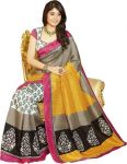 Styloce Bhagalpuri Silk Printed Grey & Yellow Saree