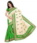 Green And White Chiffon Fabric Printed Exclusive Stylish Saree