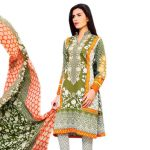 Uac-by 99pockets Green Pure Cotton Lawn Suit With Chiffon Dupatta-(product Code-rj001)