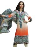 Uac-by 99pockets Orange Pure Cotton Lawn Suit With Chiffon Dupatta-(product Code-sh010)
