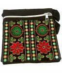 Irin Handcrafted Embroidered Deep Green Cotton Sling Bag