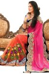 Fab Dadu Designer Pink And Orange Silk And Net Saree (fv3002)