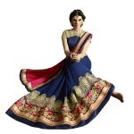 Fab Dadu Designer Pink And Blue Georgette Saree (fv3070)