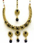 Latrendz Golden Alloy Traditional Necklace Set With Maang Tikka(1338blk)