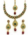 Latrendz Golden Alloy Traditional Necklace Set With Maang Tikka(1341mg)