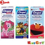 Orajel Training Toothpaste Combo (pack Of 3) - My Little Pony + Paw Patrol + Sesame Street