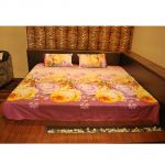 Czar 3d Double Bed Sheet With 2 Pillow Covers- Purple