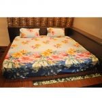 Czar 3d Double Bed Sheet With 2 Pillow Covers-sky Blue