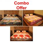 Czar Combo Of 3d Double Bed Sheet With 6 Pillow Covers Pack Of 3 (purple, Blue And Orange)