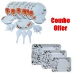 Czar Combo Of 32 PC Melamine Dinner Set Sun Flower With E-5 (3 PC Melamine Serving Tray )