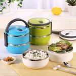 Kreativekudie 2 Layer Lunch Box Picnic Food Container Tiffin