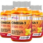 St.botanica Fish Oil 1000mg - 300mg Omega 3 - 60 Softgels - Pack Of 3