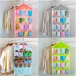 Multi Function Clear Hanging Bag For Socks Bra Underwear Cupboard Rack Hanger Storage Organiser