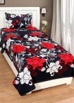 Shreejee Polycotton Single Bedsheet With One Pillow Covers (code-blk)