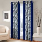 Best & Well Polyester Eyelet Door Curtain (4x7 Ft) Blue - Pack Of 2