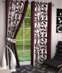 Best & Well Polyester Eyelet Window Curtain (4x5 Ft) Brown - Pack Of 2
