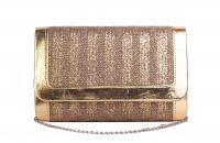 Rysha Copper-gold Stripe Jute Fabric Clutch For Women