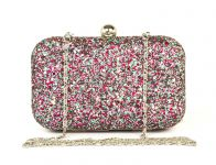 Rysha Multicolor Metal & Pu Solid Pattern Box Clutch For Womens - Ry1001