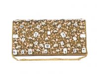 Rysha Gold Silk Self Design Clutch For Womens - Ry1028