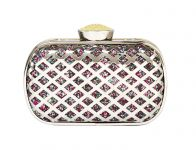 Rysha Silver Metal & Pu Checkered Pattern Clutch For Womens - Ry1033