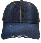 Dark Blue Denim Torn Baseball Cap