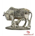 Inindia Silver Plated Kamdhenu Cow Oxidized Silver Finish ( Ultra Large)