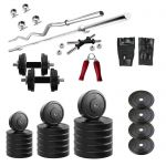Diamond Home Gym Of 30kg Weight With 3ft Curl 4ft Straight Bar & Accessories For Strength & Fitness