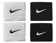 Sports Wrist Band Supporter Sweat Band (white And Black) - 1 Pair Each