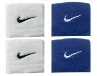 Sports Wrist Band Supporter Sweat Band (white And Blue) - 1 Pair Each