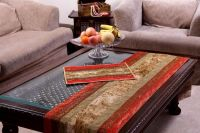 Jodhaa Table Runner In Brocade And Velvet In Red / Gold - Large