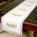 Jodhaa Cotton White-purple-green Table Runner