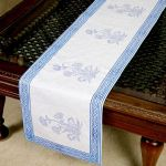 Jodhaa Cotton White-blue Table Runner