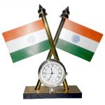 Double Sided Tricolor National Flag With Clock For Car Dashboard,official Use