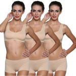 Wetex Premium Pack Of 3 Non-padded Sports Bra And Semless Panty Set( Beige) Free Size (product Code - Air Bra & Panty-beige-po-3)