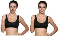 Wetex Premium Pack Of 2 Seamless Black Air Bra Free Size (product Code - Air Bra-blk-po-2)