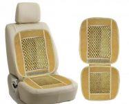 Autosun-car Wooden Bead Seat Cushion( Set Of 2 )velvet Border-with Key Chain-maruti Baleno Code - Carbeaigevelvetas85