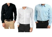 Combo Of Black,white & Blue Full Sleeves Cotton Shirts