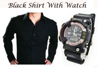 Stylish Black Shirt With Stylish Watch..109