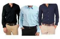 Combo Of Black, Light Blue & Navy Blue Full Sleeves Shirts
