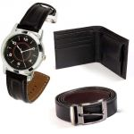 Hi Lifestyles Combo Of Leather Wallet And Belt With Elegant Analog Wrist Watch
